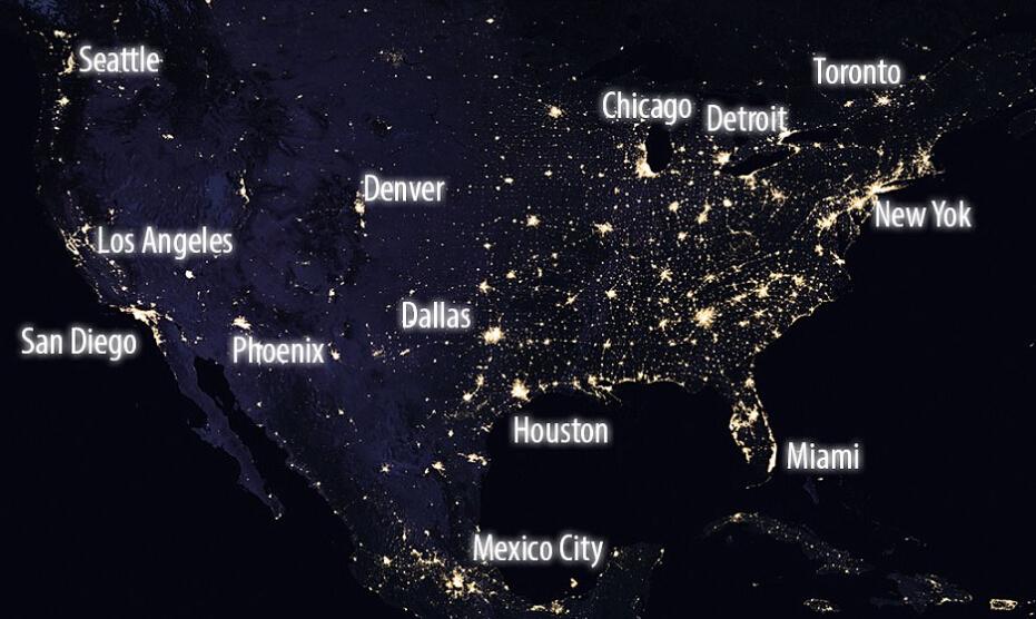 NASA公布地球夜景美图 灯光璀璨震撼人心
