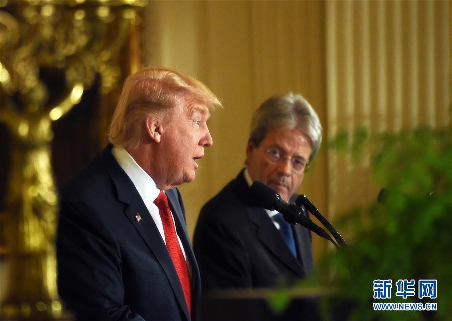 美国总统特朗普会见意大利总理真蒂洛尼