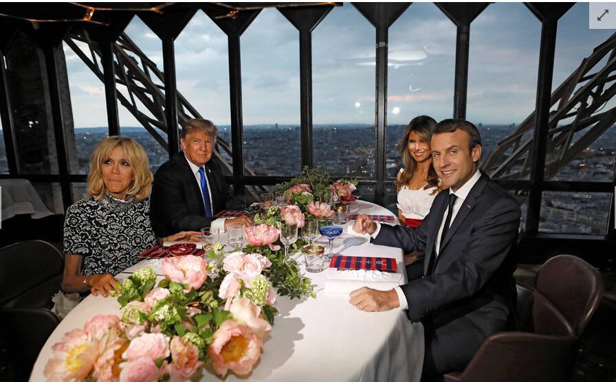 特朗普访法晤马克龙 铁塔享晚宴