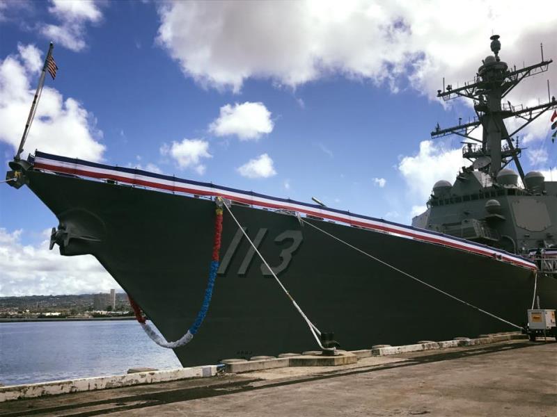 美军最新一艘伯克级服役美上将强权支撑和平