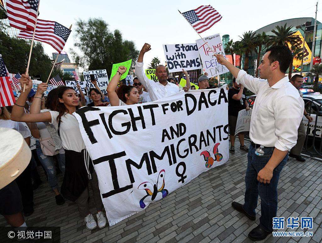 美国多地爆发游行示威反对终止DACA计划