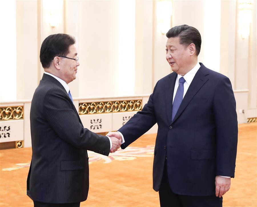 习近平会见韩总统特使郑义溶