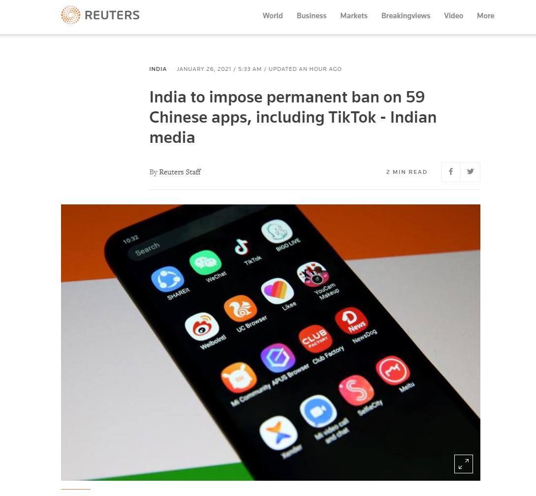 印媒:印度宣布将永久禁止59款中国APP,包括百度、UC浏览器等